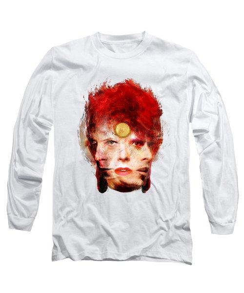 Ch Ch Changes David Bowie Portrait Long Sleeve T-Shirt by Big Fat Arts