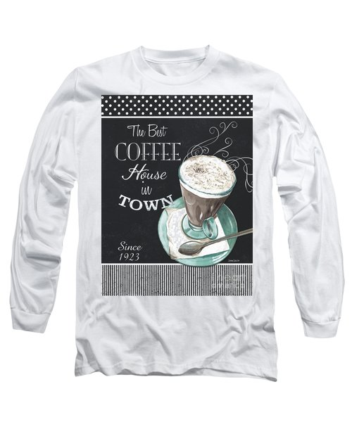 Long Sleeve T-Shirt featuring the painting Chalkboard Retro Coffee Shop 2 by Debbie DeWitt