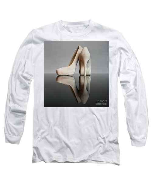 Long Sleeve T-Shirt featuring the photograph Champagne Stiletto Shoes by Terri Waters