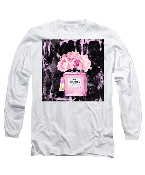 Chanel Print Chanel Poster Chanel Peony Flower Black Watercolor Long Sleeve T-Shirt