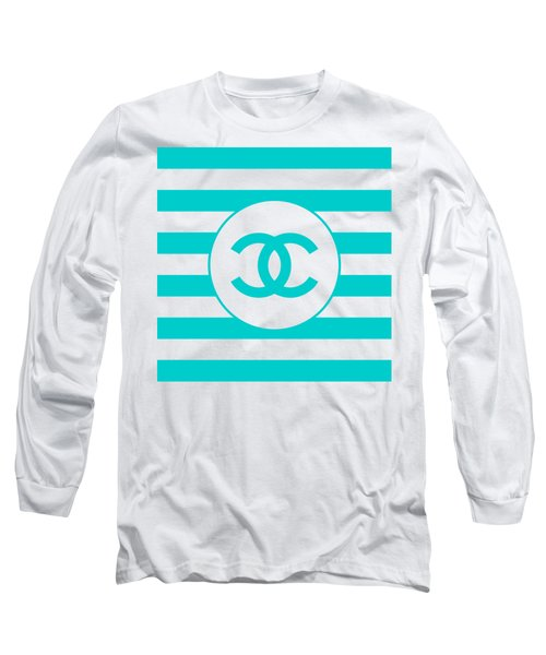 Chanel - Stripe Pattern - Blue - Fashion And Lifestyle Long Sleeve T-Shirt