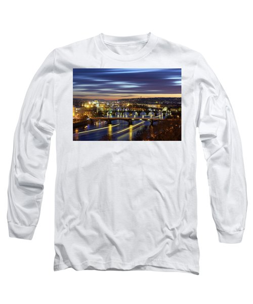 Charles Bridge During Sunset With Several Boats, Prague, Czech Republic Long Sleeve T-Shirt