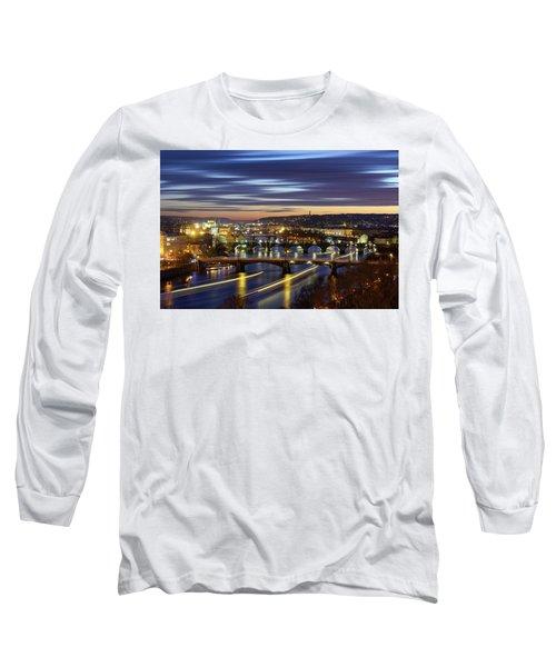 Charles Bridge During Sunset With Several Boats, Prague, Czech Republic Long Sleeve T-Shirt