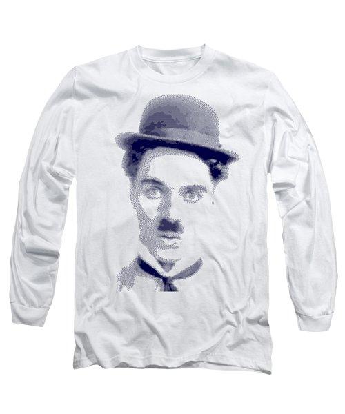 Charlie Chaplin - Cross Hatching In Blue Long Sleeve T-Shirt