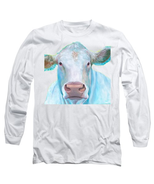 Charolais Cow Painting On White Background Long Sleeve T-Shirt by Jan Matson
