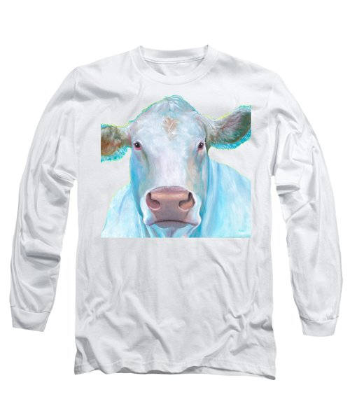 Charolais Cow Painting On White Background Long Sleeve T-Shirt