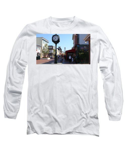 Long Sleeve T-Shirt featuring the painting Checking Out The Shops In Cape May by Rod Jellison