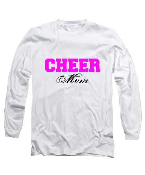 Cheer Mom Typography In Pink And Black Long Sleeve T-Shirt