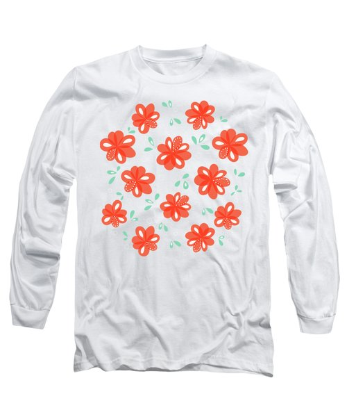 Cheerful Red Flowers Long Sleeve T-Shirt
