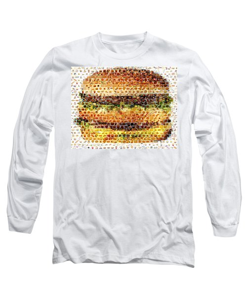 Long Sleeve T-Shirt featuring the mixed media Cheeseburger Fast Food Mosaic by Paul Van Scott