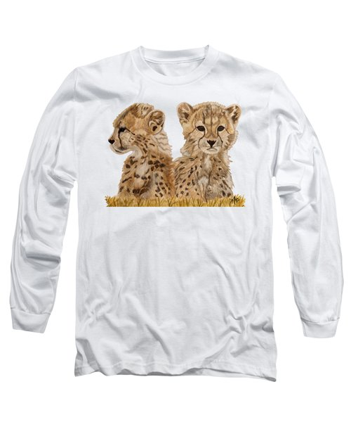 Cheetah Cubs Long Sleeve T-Shirt by Angeles M Pomata