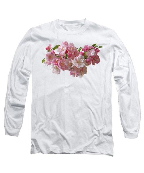 Cherry Blossom On Black Long Sleeve T-Shirt