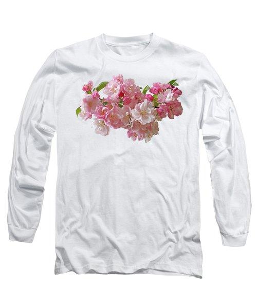Cherry Blossom On White Long Sleeve T-Shirt