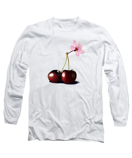 Long Sleeve T-Shirt featuring the drawing Cherry Blossom by Rob Snow