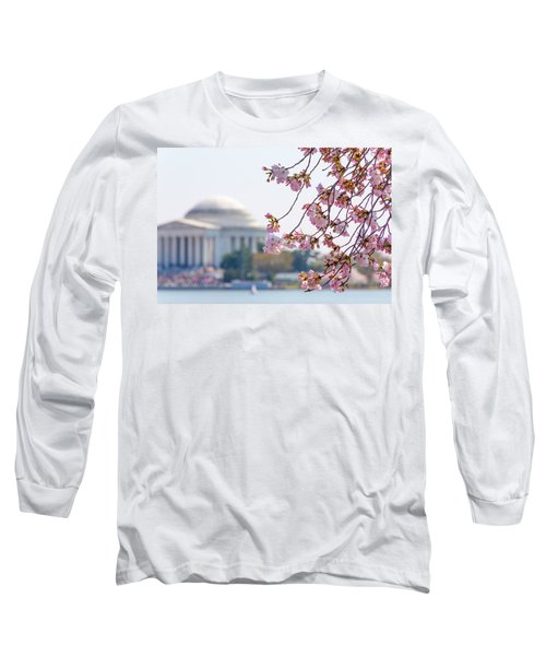 Cherry Blossoms And Jefferson Memorial Long Sleeve T-Shirt