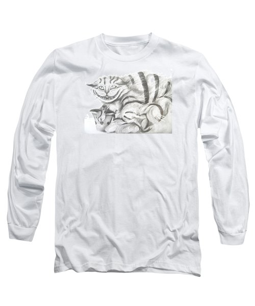 Long Sleeve T-Shirt featuring the drawing Chershire Cat  by Meagan  Visser
