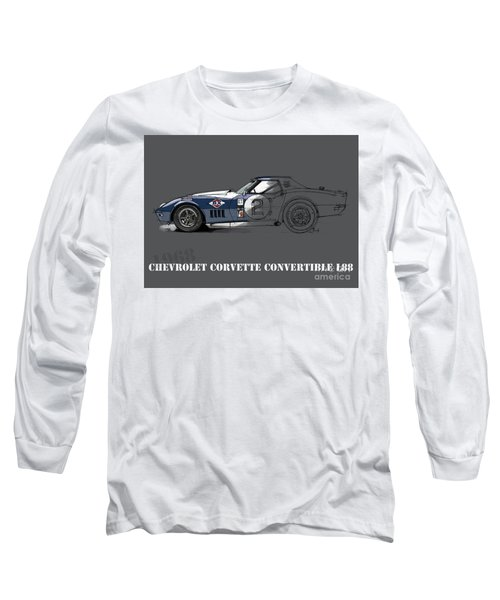 Chevrolet Corvette Convertible L88 1968, Ink And Markers Art Print Long Sleeve T-Shirt