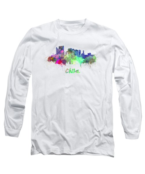 Chiba Skyline In Watercolor Long Sleeve T-Shirt