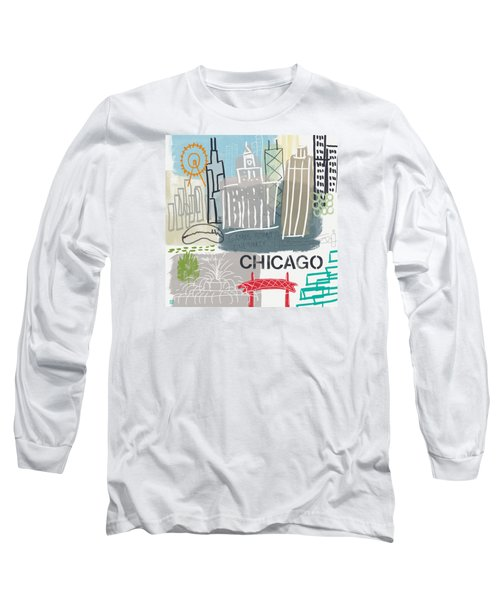 Chicago Cityscape- Art By Linda Woods Long Sleeve T-Shirt