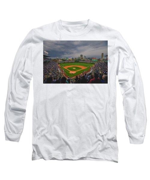Chicago Cubs Wrigley Field 4 8213 Long Sleeve T-Shirt by David Haskett