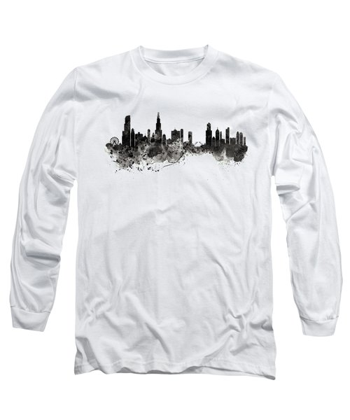 Chicago Skyline Black And White Long Sleeve T-Shirt
