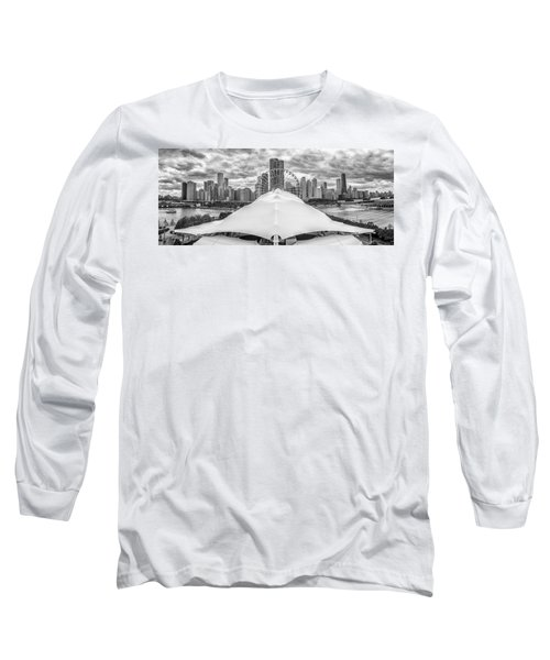 Long Sleeve T-Shirt featuring the photograph Chicago Skyline From Navy Pier Black And White by Adam Romanowicz