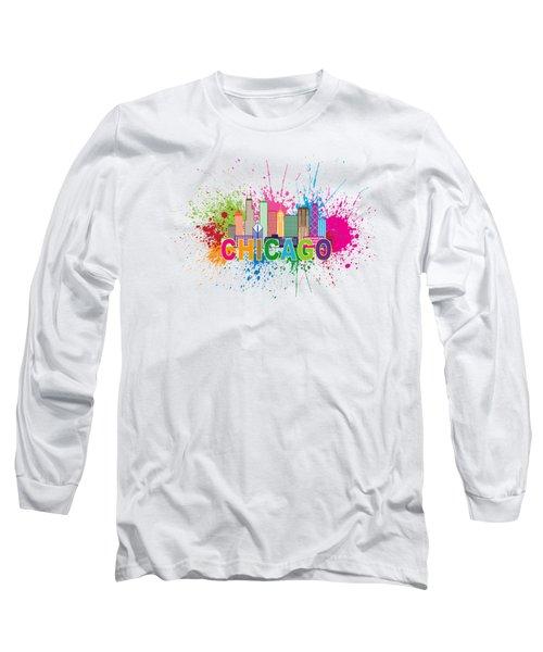 Chicago Skyline Paint Splatter Text Illustration Long Sleeve T-Shirt