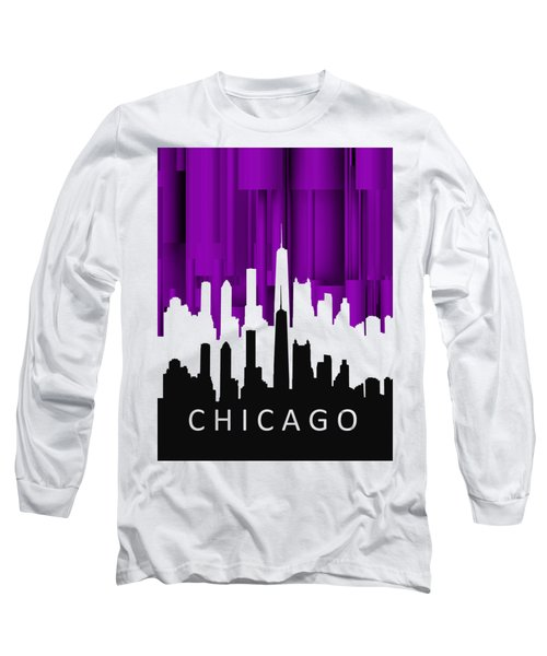 Chicago Violet In Negative Long Sleeve T-Shirt by Alberto RuiZ