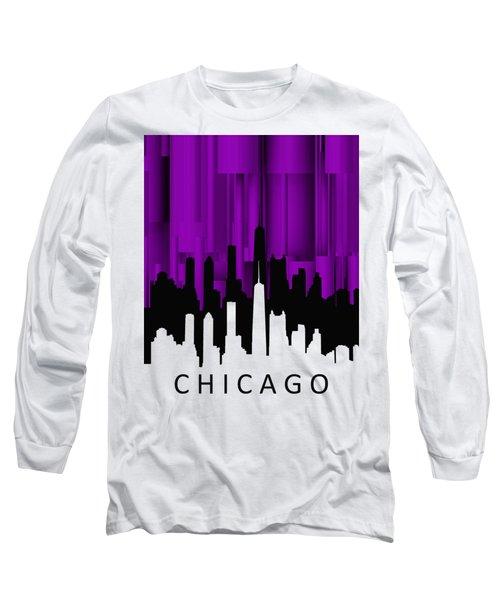 Chicago Violet Vertical  Long Sleeve T-Shirt by Alberto RuiZ