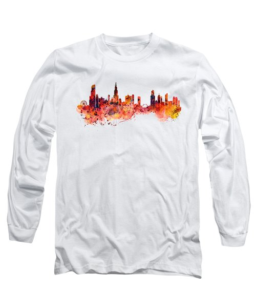 Chicago Watercolor Skyline Long Sleeve T-Shirt