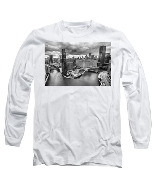 Chicago's Wolf Point From The 27th Floor Long Sleeve T-Shirt