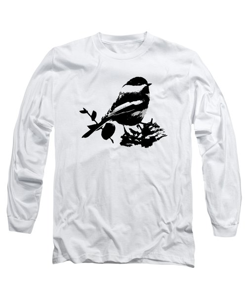 Chickadee Bird Pattern Long Sleeve T-Shirt by Christina Rollo