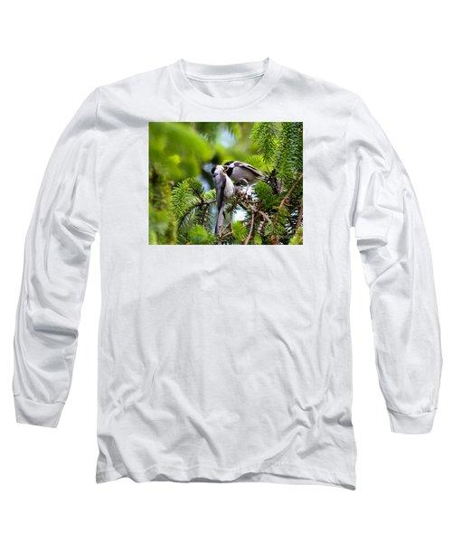 Chickadee Feeding Time Long Sleeve T-Shirt