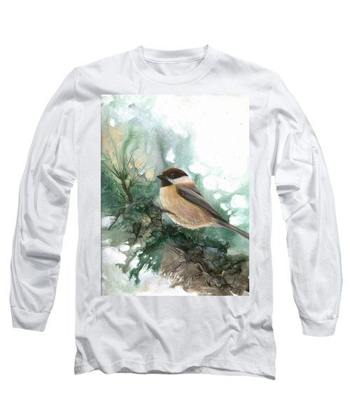 Long Sleeve T-Shirt featuring the painting Chickadee by Sherry Shipley