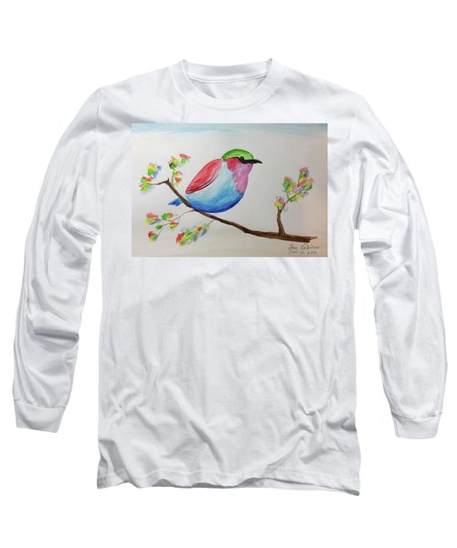 Chickadee With Green Head On A Branch Long Sleeve T-Shirt
