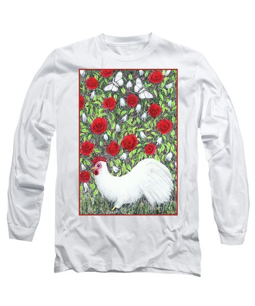Chicken And Butterflies In The Flowers Long Sleeve T-Shirt