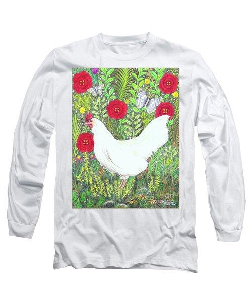 Chicken With Millefleurs And Butterflies  Long Sleeve T-Shirt