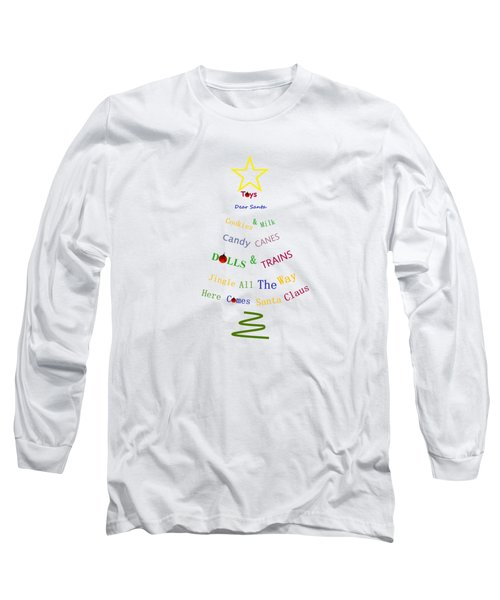 Children Holiday Tree - Christmas Typography Long Sleeve T-Shirt