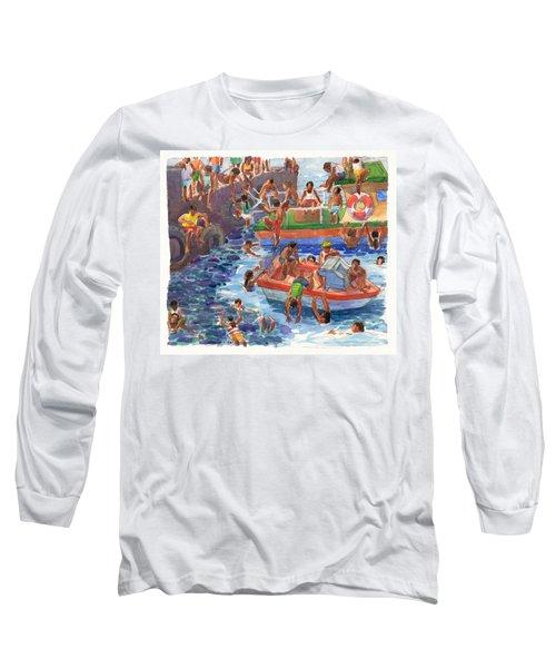 Children Playing At Avarua Wharf  Long Sleeve T-Shirt