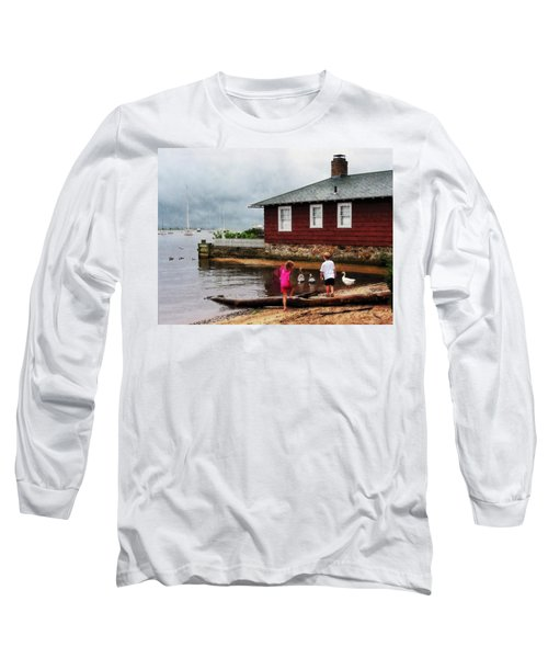 Long Sleeve T-Shirt featuring the photograph Children Playing At Harbor Essex Ct by Susan Savad