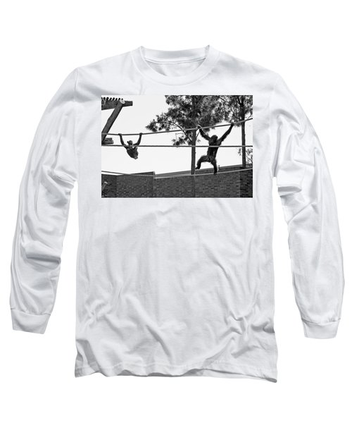 Long Sleeve T-Shirt featuring the photograph Chimps In Black And White by Miroslava Jurcik