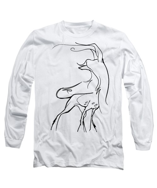 Chinese Crested Gesture Sketch Long Sleeve T-Shirt