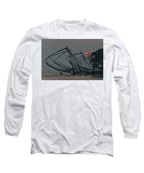 Chinese Fishing Nets, Cochin Long Sleeve T-Shirt by Marion Galt