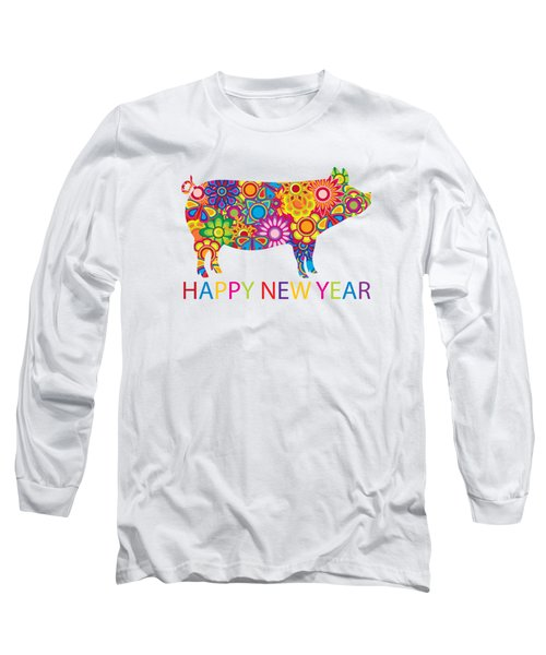 Chinese New Year Colorful Pig Illustration Long Sleeve T-Shirt