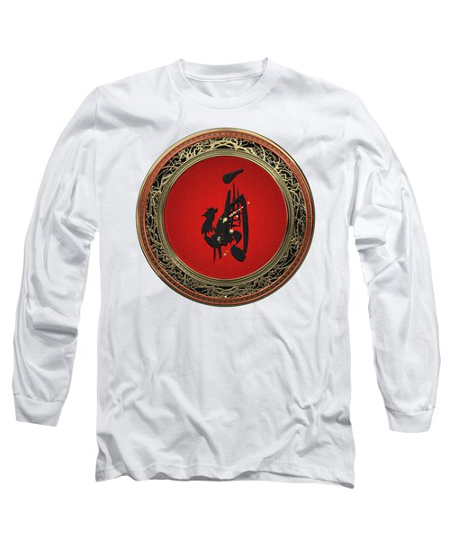 Chinese Zodiac - Year Of The Rooster On White Leather Long Sleeve T-Shirt