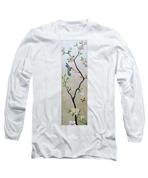 Chinoiserie - Magnolias And Birds #5 Long Sleeve T-Shirt