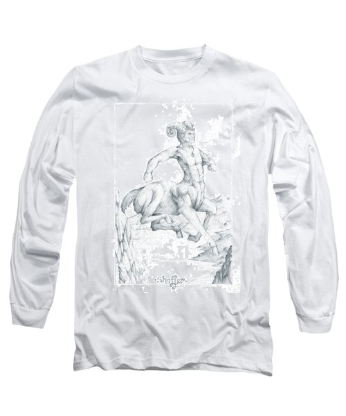 Long Sleeve T-Shirt featuring the drawing Chiron The Centaur by Curtiss Shaffer