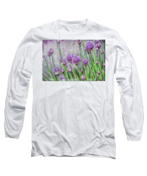 Chives In Texture Long Sleeve T-Shirt by Debra Baldwin