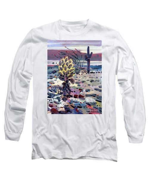 Cholla Saguargo And Ocotillo Long Sleeve T-Shirt by Donald Maier