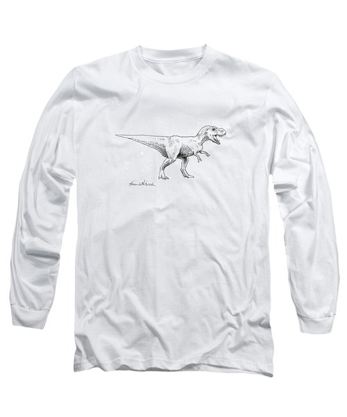 Long Sleeve T-Shirt featuring the drawing Tyrannosaurus Rex Dinosaur T-rex Ink Drawing Illustration by Karen Whitworth